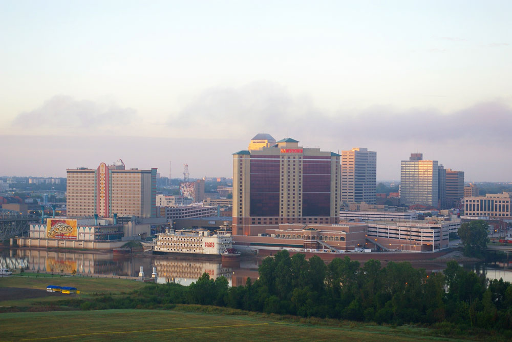 This is a picture of Shreveport's two casinos, Sam's Town and the Eldorado