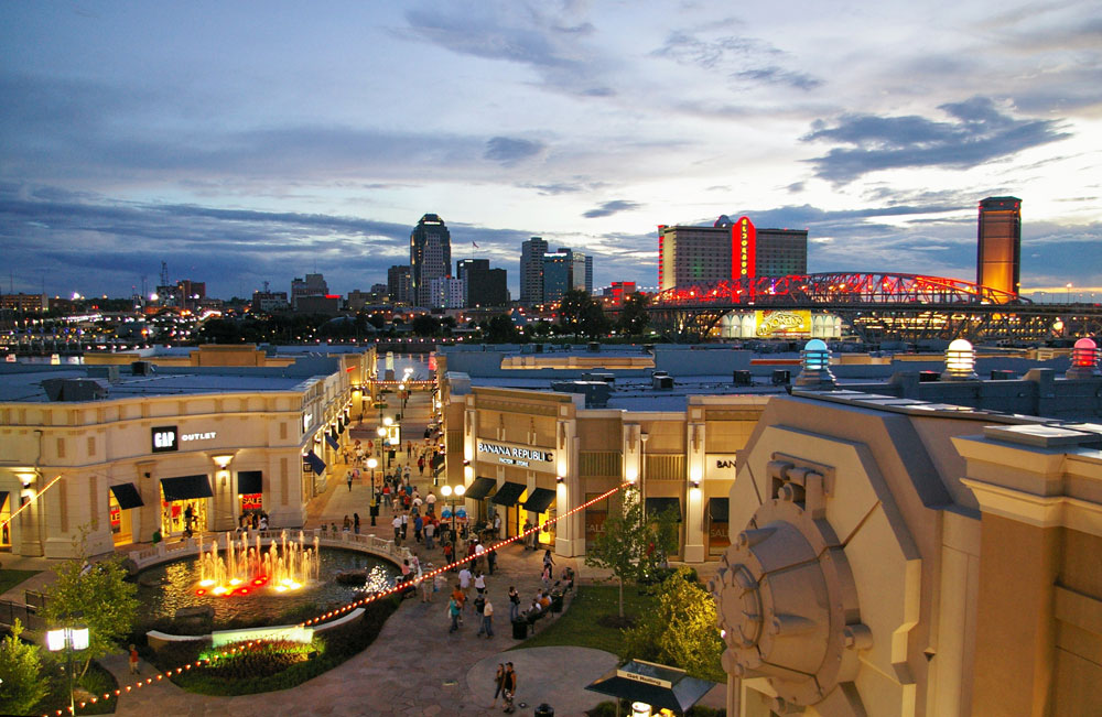 This is a photo of the Louisiana Boardwalk looking towards Shreveport
